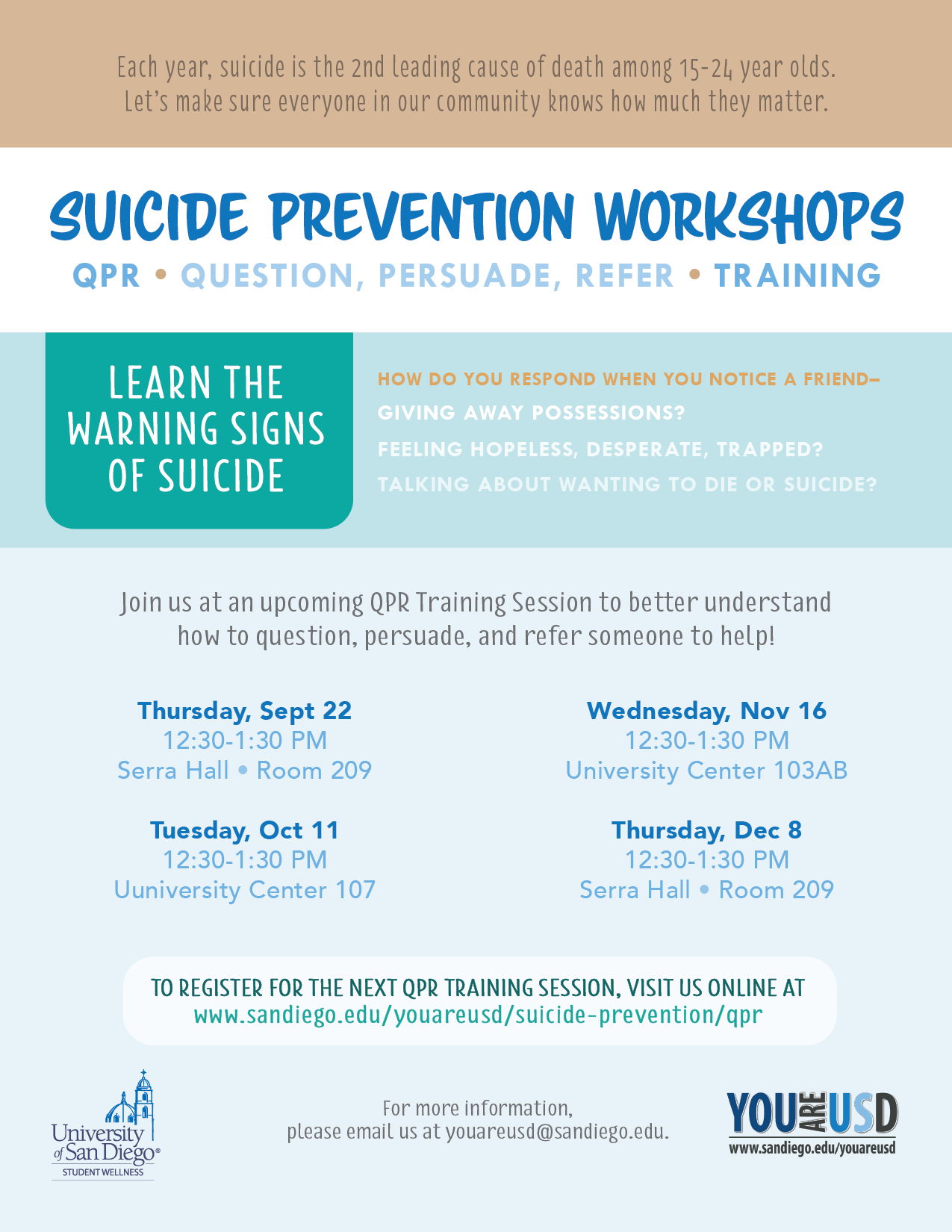 Qpr suicide prevention training you are usd suicide for Suicide safety plan template