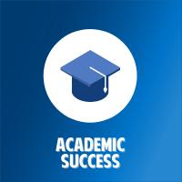 blue graduation cap button with white circle background and blue gradient background with white text that says academic success