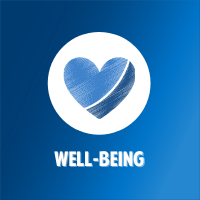 artistic blue heart with white background circle and blue gradient background with white text that says well-being