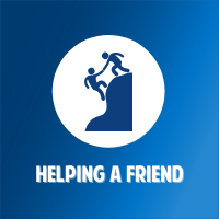 person helping another up a hill icon on white circular background with blue gradient background with white text that says helping a friend