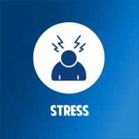 person in blue with lightning strikes signaling stress on a white circular background on top of a blue gradient background