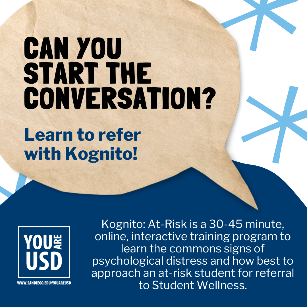 """speech bubble that says """"can you start the conversation? learn to refer with Kognito"""""""